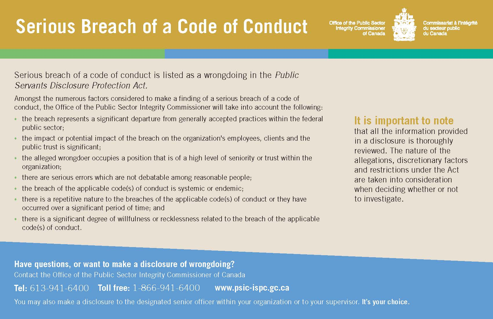 Serious Breach of a Code of Conduct