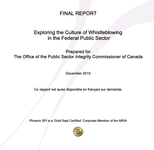 Exploring the Culture of Whistleblowing in the Federal Public Sector